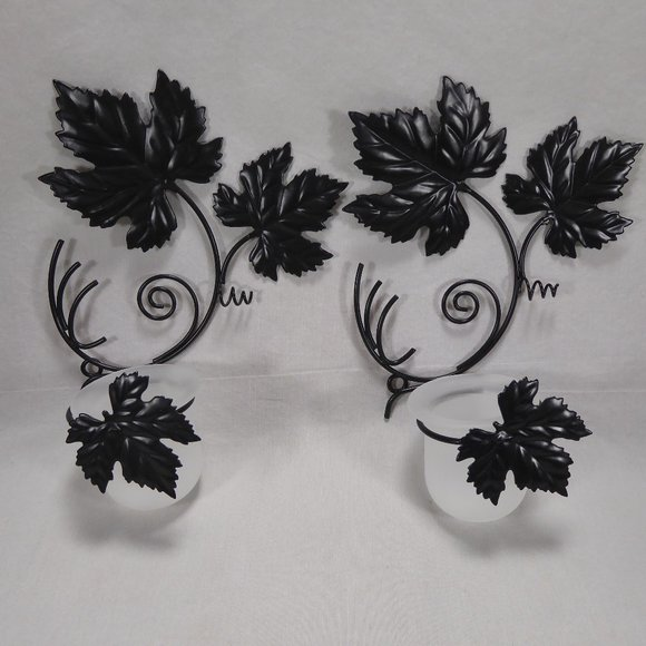 Pair of Grape Leaf Sconce Candle Holders